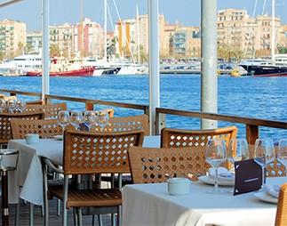 Restaurant on quay of port of Barcelona, Port Well, Spain